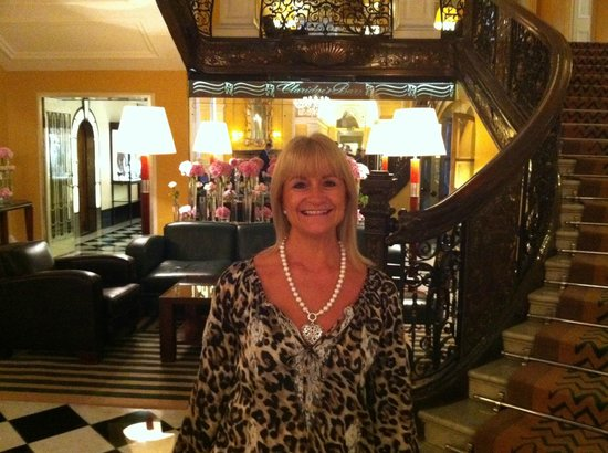 Claridge's: Mrs Dan by her favourite stairs...