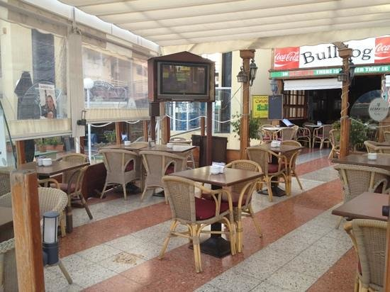 The British Bulldog:                                                                         The covered terrace