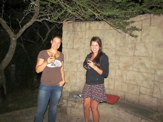 Nyaru Private Game Lodge:                   Nicky and Rene at boma