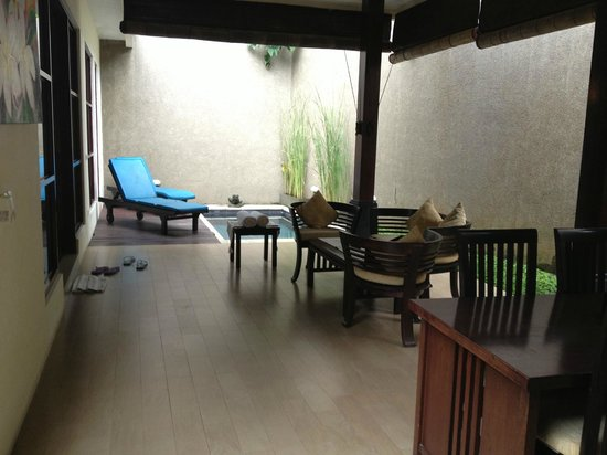 Bali Rich Luxury Villas Ubud:                   Living room area & pool