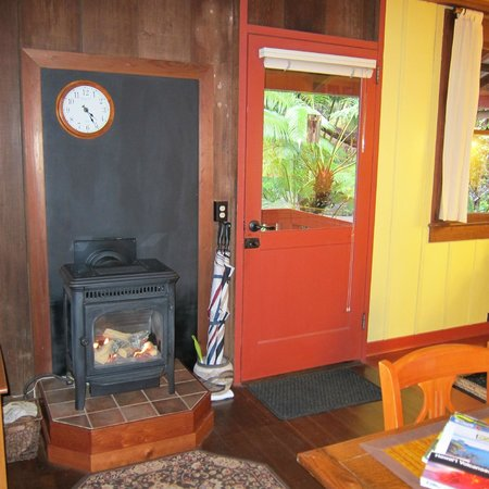 Crater Rim Cabin:                   Front door and stove