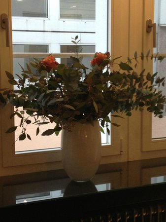 Hotel Helmhaus:                   Lovely fresh flowers to view at breakfast.