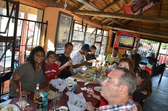 Sakhumzi Restaurant:                   Enjoying a scrumtious lunch