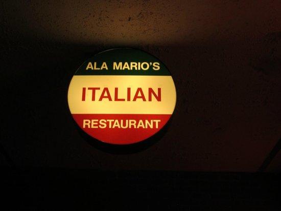 Ala Mario's Pizza: Exterior signage