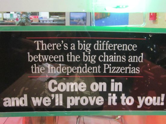 Ala Mario's Pizza: Sign outside the restaurant