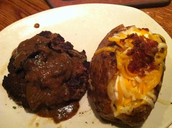 chopped steak with gravy and mushrooms and loaded potato picture of outback steakhouse warner robins tripadvisor chopped steak with gravy and mushrooms