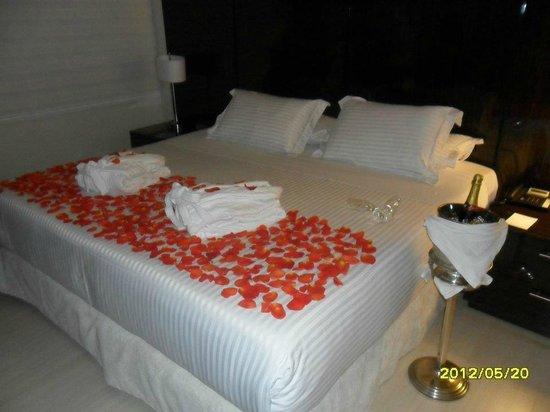 Hotel Porton Medellin:                   Arreglo con pétalos y vino