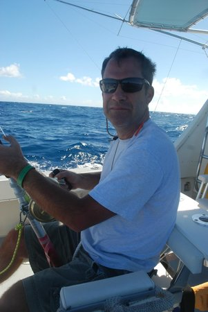 Mystic Amara II - Deep Sea & Bottom Fishing Charters: Sitting in the fighting chair!