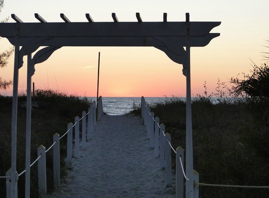 Castaways Cottages of Sanibel:                   view from area in front of beach cottages (gorgeous sunsets!)