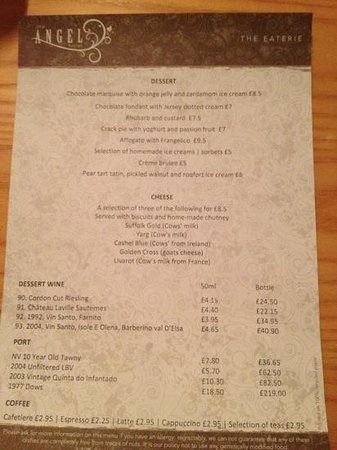 The Angel Eaterie:                   dessert menu