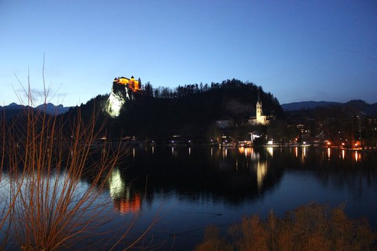 Hotel Lek:                   Looking at Bled castle from the lake.