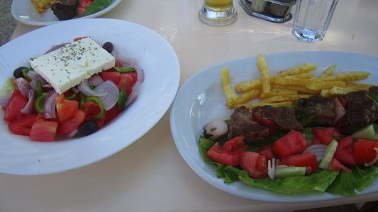 Chesters On The Beach:                   amazing greek salad and lamb