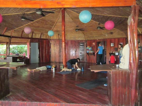 Montezuma Yoga:                   Setting up for class