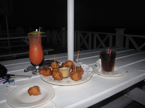 Restaurant at Orchid Bay Yacht Club and Marina:                   rum and conch fritters