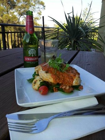 Harrigan's Irish Pub :                   Mediterranean Chicken with a cider in the sun
