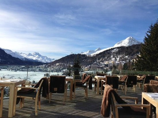 Carlton Hotel St. Moritz:                   The Cartlon terrace with the view is lovely.