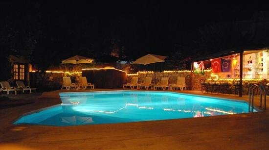 Bin Kaya Hotel:                   Pool (and bar) at night