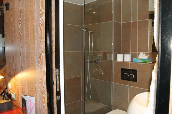 Hotel le Notre Dame: Baño pequeño pero suficiente