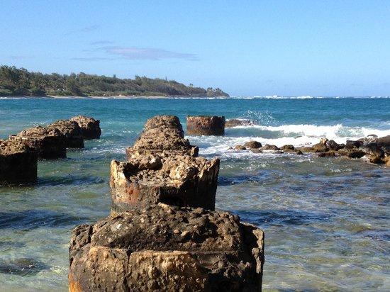 Anahola Beach Park: Old pilings