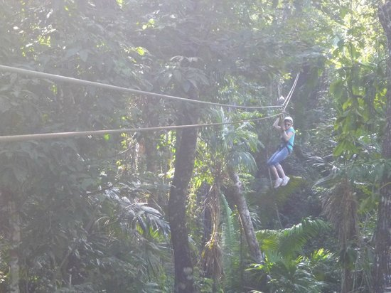 Calico Jack's Village:                   heather enjoying the zipline