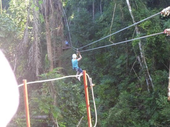 Calico Jack's Village:                   heather  enjoying the zipline again