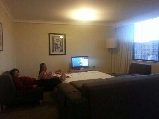 BreakFree Capital Tower Canberra:                   the living room has a sofa bed pull out