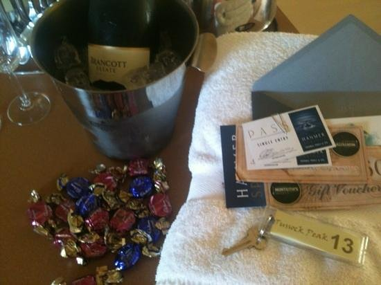 "Tussock Peak Motor Lodge:                   extra goodies from ""honeymoon package"""