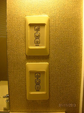 The Independent Hotel:                   bathroom lighting controls, a little difficult to use, worn and unresponsive