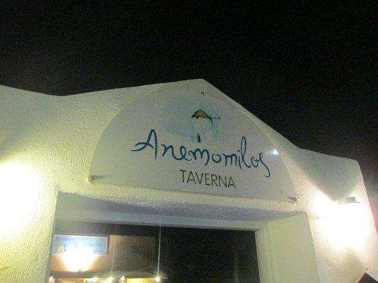 Anemomilos Restaurant: sign