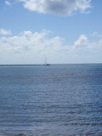 Mirage Beach Resort :                   Boat on horizon -- Laborie Beach