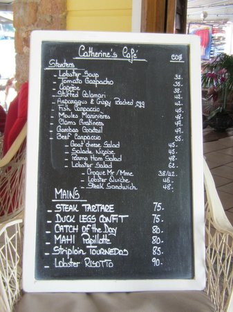 Catherines Cafe Plage: Le Menu
