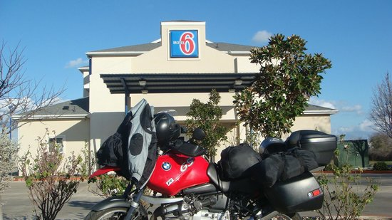 Motel 6 Fredericksburg:                   My bike in parking lot