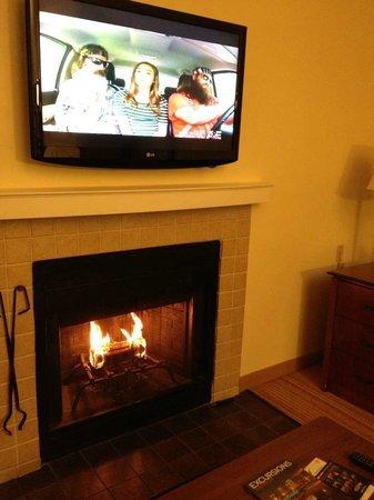 Residence Inn Birmingham Inverness:                   fireplace and sleeper sofa in living room.