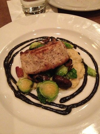 YaYa's Euro Bistro:                   Trout with Polenta and Brussels Sprouts