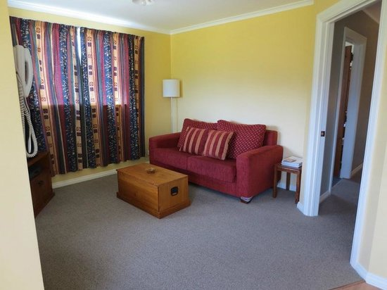 Blue Thistle Cottages:                   Little living area (with a great view!)