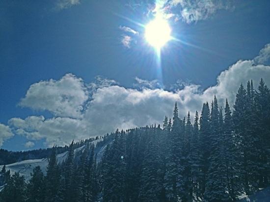 Solitude Mountain Resort:                   riding up Eagle