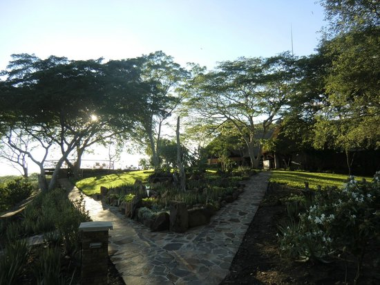 Chilo Gorge Safari Lodge:                                     Chilo gardens at Sunset