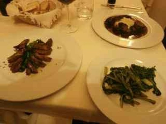 Locanda I Piceni:                                     Venison and braised beef mains with sauteed greens