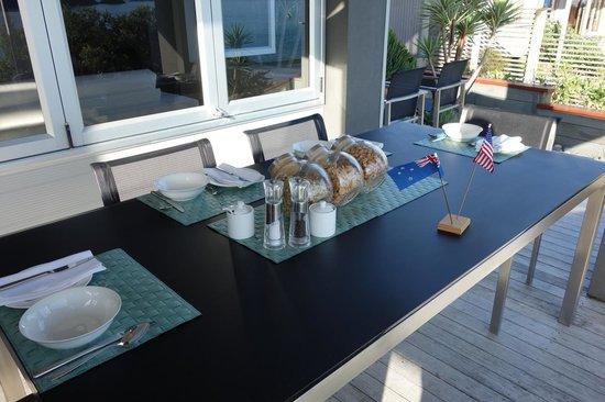 Hahei Oceanfront:                   breakfast on patio deck