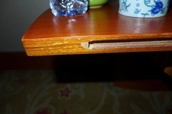 Swissotel Beijing Hong Kong Macau Center:                   Chipped bedside table shelf