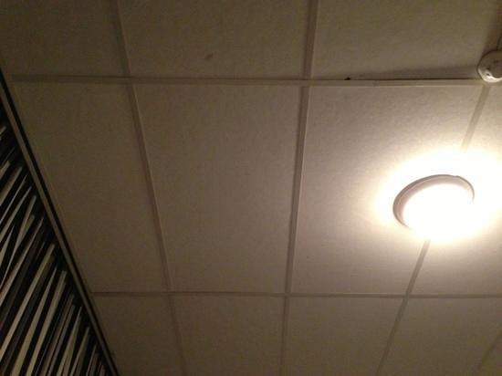 West Side Inn Hotel:                   il puntino nero a destra e' un bel buchino nel soffitto, fatto di compensato e