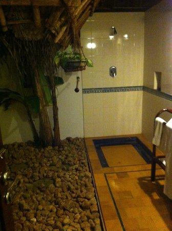Marari Beach Resort:                   Open air bathroom