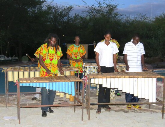 Kwalape Safari Lodge:                   Karimba band playing