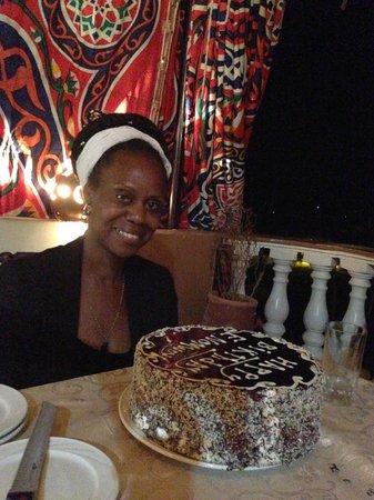 Cleopatra Hotel Luxor:                   Beautiful cream cake to celebrate my 50th birthday!