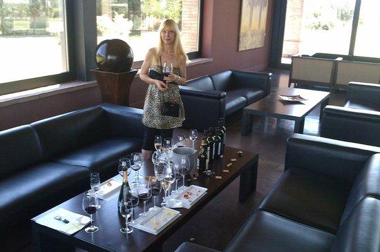 Bodega Navarro Correas:                   Disfrutando una degustación, miren la cantidad de botellas en la mesa!