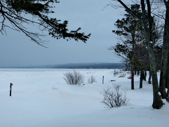 McLain State Park Campground: Partially frozen Lake Superior