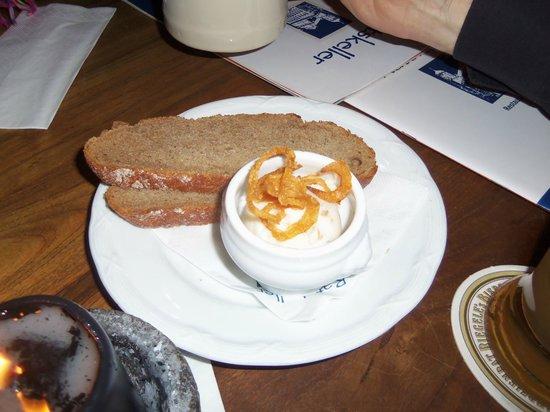 Ratskeller:                   Appetizer: Griebenschmalz...pork fat with bacon bits in it...it was okay