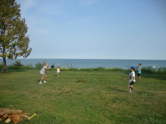 Virginia's Beach Campground: Large area in front of our site. The campground sits on a bluff above Lake Erie.