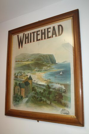 Whitehead Library: A century-old poster; Whitehead before the lighthouse was built.