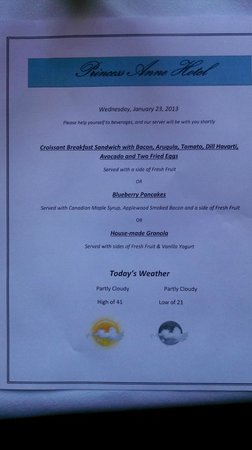 Princess Anne Hotel: Example menu for breakfast.